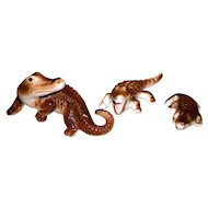 Set of 3 Porcelain Alligator Figurines