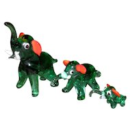 Set of 3 Green Glass Elephant Figurines