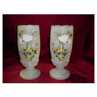 Set OF Two Bristol Frosted Glass Mantel Urns