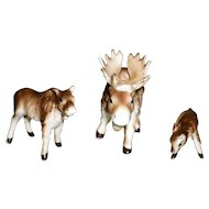 Set of 3 Porcelain Moose Figurines