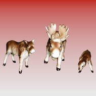 Set of 3 Porcelain Moose Figurines