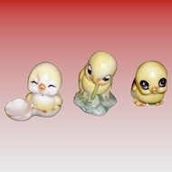 Set of 3 Porcelain Chicks Figurines
