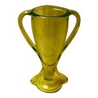 Vintage Fostoria Vaseline Glass Double Handled Vase