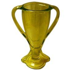 Vaseline Glass Double Handle Vase