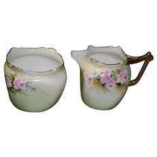 Favorite Bavaria Creamer and Sugar Bowl Sea Foam Green and Pink Roses