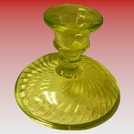 Vaseline Glass Candlestick Holder