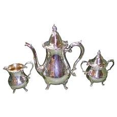 Antique 3 pc. Wallace Coffee / Tea Pot Set