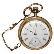 1878 Elgin Pocket Watch Serial #568677 With Fob