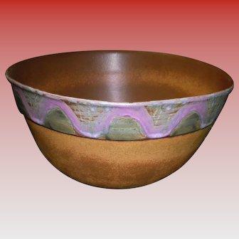 Large Banded Bennington Pottery Bowl #2186