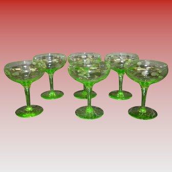 Set Of 6 Vaseline Champagne Glasses