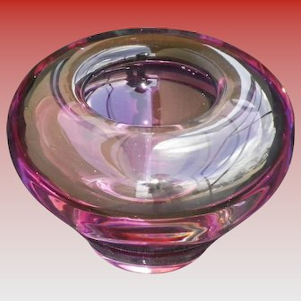 Heavy Cranberry Murano Glass Bowl