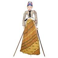 Hand Painted Indonesian Wayang Golek Wood Rod Puppet