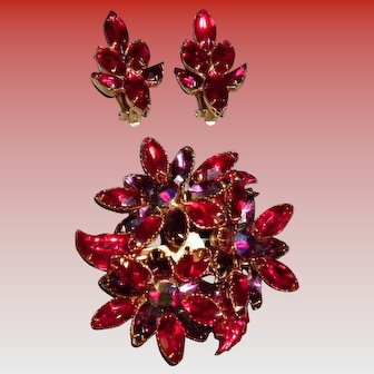 Vintage Red and Purple Rhinestone Pin and Earrings Set