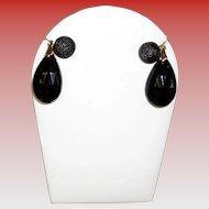 Vintage Crown Trifari Faceted Black Glass Drop Earrings