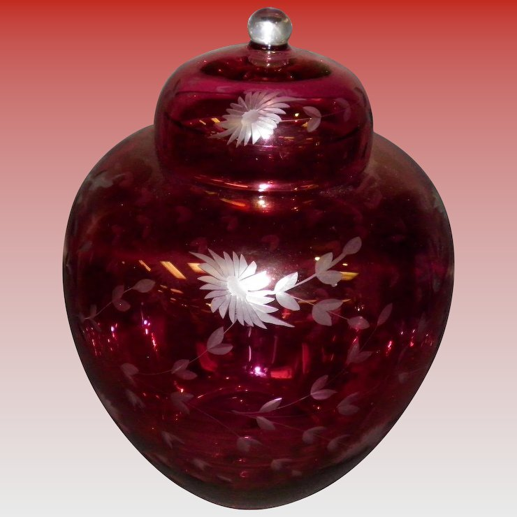 Finest Large Etched Cranberry Glass Ginger Jar With Lid : Cameo Antique  CC42