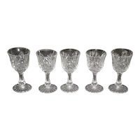 Set Of 5 Brilliant Cut Glass Cordials