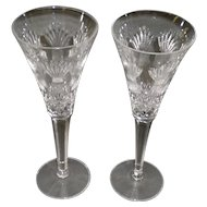 "Pair Of Waterford Crystal ""Love toasting"" Champagne Flutes"