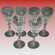 Set Of 6 Lead Crystal Cordial Glasses