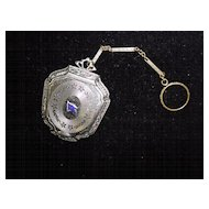 """Victorian Chatelaine Compact On Fob with """"M"""" Initial"""