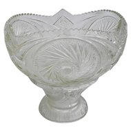2 Piece Vintage Pressed Glass Pedestal Punch Bowl