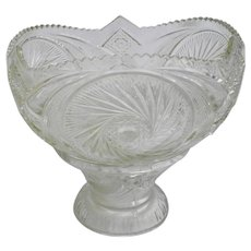 2 Piece Vintage Pressed Glass Pedestal Punch Bowl
