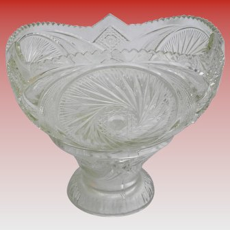2 Piece Vintage Pressed Glass Punch Bowl