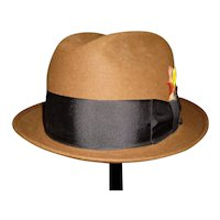 Men's Vintage Brown Felt Fedora Hat By Champ In Original Box 7 1/8