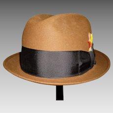 Men's Vintage Brown Felt Fedora Hat By Champ In Original Box 7 1/8