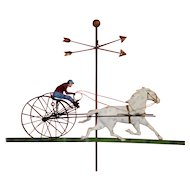 Metal Sulky Race Horse Jockey Wall Sculpture Weathervane By Curtis Jere