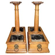 2 Victorian Double Wood Planters With Lion Head Handles