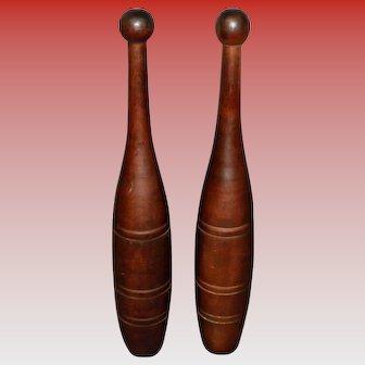 """Pair Of Vintage 17"""" Wood Juggling Pins"""