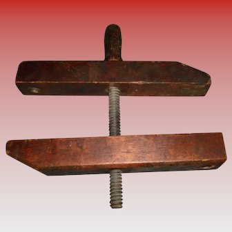 Primitive Wooden Vise Clamp Wood Working Tool