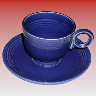 Vintage Fiesta Cobalt Blue Cup and Saucer