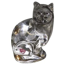 Signed Orrefors Sweden Art Glass Sitting Cat Figurine Paperweight