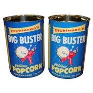 2 Vintage Dickinson's  Big Buster Popcorn Tins