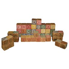 Set of 47 Victorian Alphabet Wooden Blocks with Numbers and Pictures