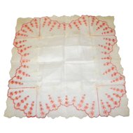 Victorian Embroidered Lace Handkerchief / Hankie