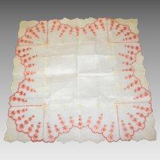 Victorian Embroidered Lace Handkerchief / Hankie