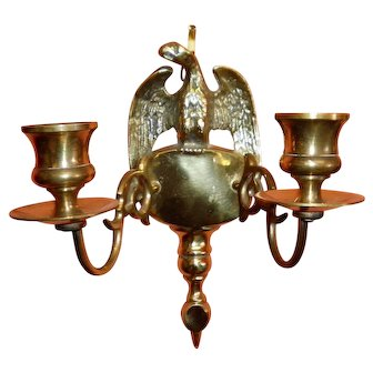 Brass Eagle Wall Mount Double Candlestick Holder