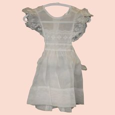 Vintage Little Girls White Linen Dress by Little Highness