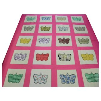 Sweet Vintage Pink and White Hand Stitched Quilt with Butterflies Handmade