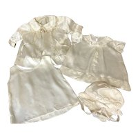 Antique Victorian Baby 4 pc. Satin Layette Set