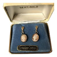 14 kt Yellow Gold Cameo Earrings In Original Box