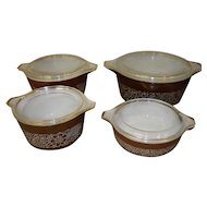 Set Of 4 Pyrex Woodland Brown Cinderella Nesting Casserole Dishes With Lids