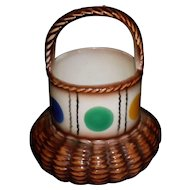 Vintage Czech Pottery Basket With Dot Pattern