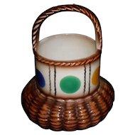 Vintage Czech Pottery Basket With Dot Pattern