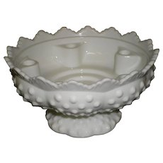 Signed Fenton Milk White Glass Hobnail 6 Candle Holder