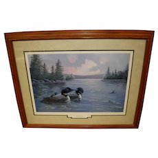 """Framed and Matted """"After The Rain - Loons"""" Scratchboard Art Signed by Bruce Taylor"""