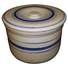 Antique Blue Band Salt Glaze Butter Crock with Lid