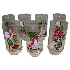 Set of 7 Holly Hobbie Coca Cola Christmas Glasses
